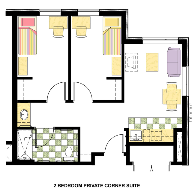 2 bedroom private
