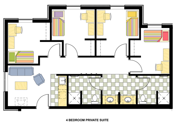 4 bedroom private