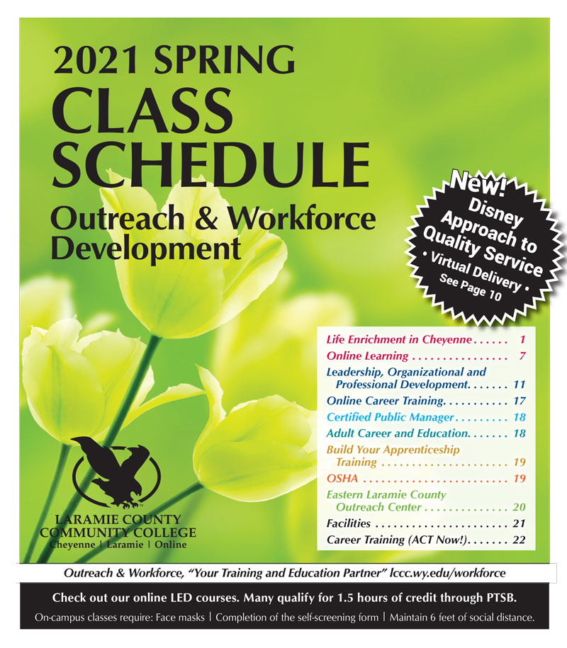 2021 Spring Class Schedule for Outreach and Workforce Development